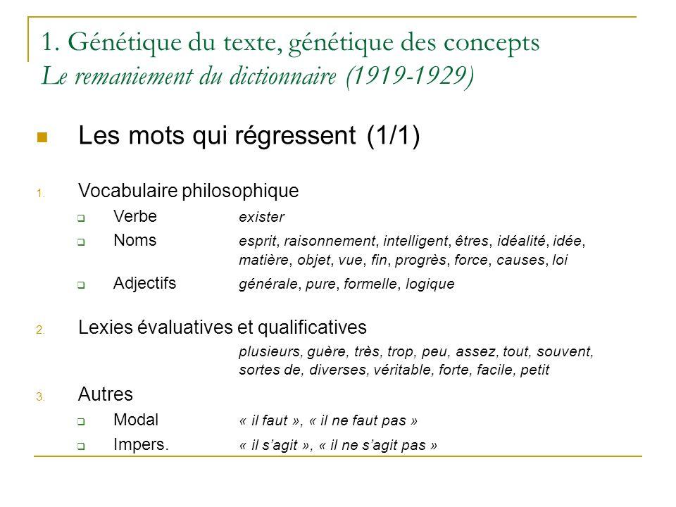 1. Génétique du texte, génétique des concepts Le remaniement du dictionnaire (1919-1929) Les mots qui régressent (1/1) 1. Vocabulaire philosophique Ve