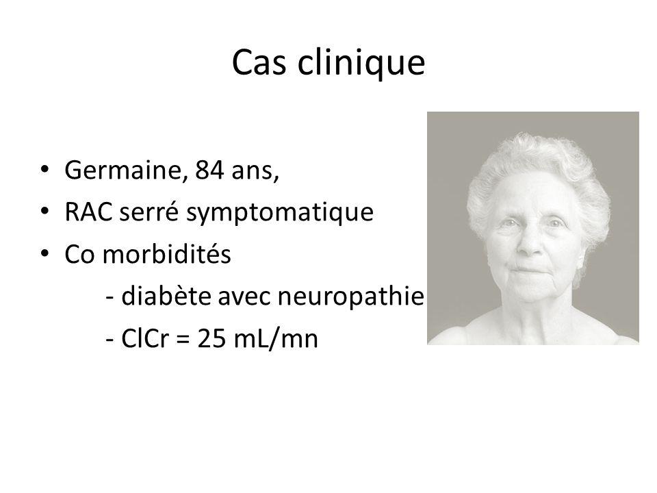 Cas clinique Germaine, 84 ans, RAC serré symptomatique Co morbidités - diabète avec neuropathie - ClCr = 25 mL/mn