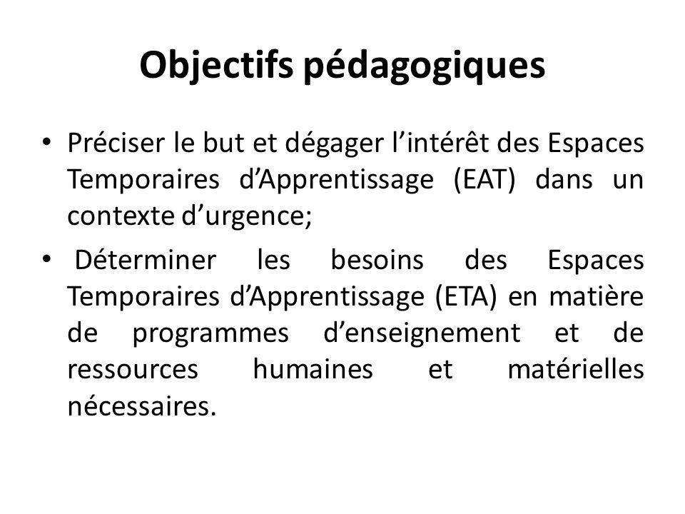 Objectifs pédagogiques Préciser le but et dégager lintérêt des Espaces Temporaires dApprentissage (EAT) dans un contexte durgence; Déterminer les besoins des Espaces Temporaires dApprentissage (ETA) en matière de programmes denseignement et de ressources humaines et matérielles nécessaires.
