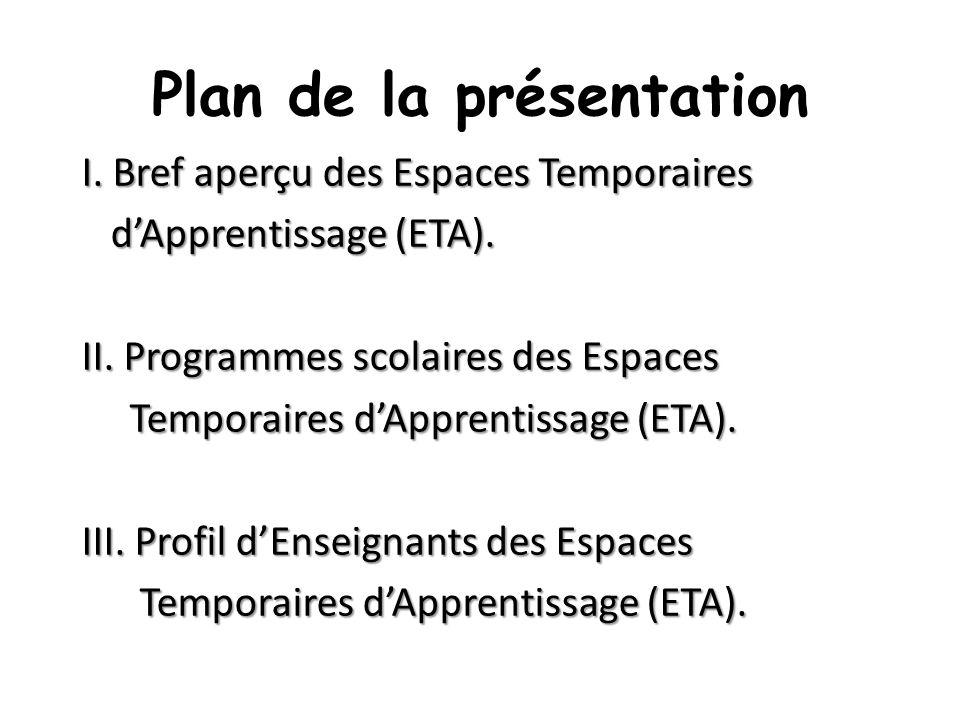 Plan de la présentation I. Bref aperçu des Espaces Temporaires dApprentissage (ETA). dApprentissage (ETA). II. Programmes scolaires des Espaces Tempor