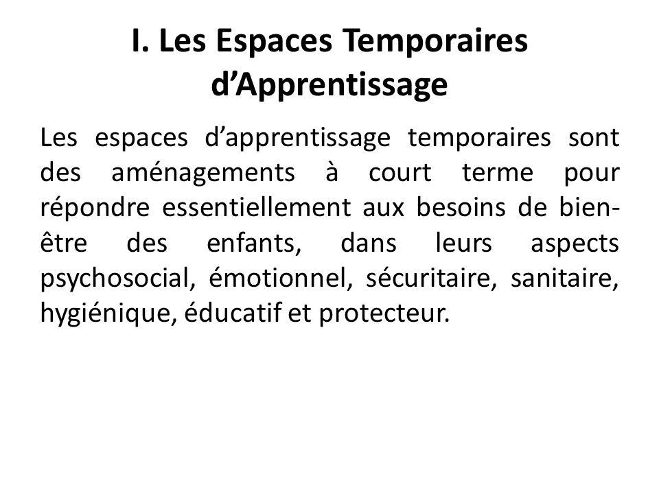 I. Les Espaces Temporaires dApprentissage Les espaces dapprentissage temporaires sont des aménagements à court terme pour répondre essentiellement aux