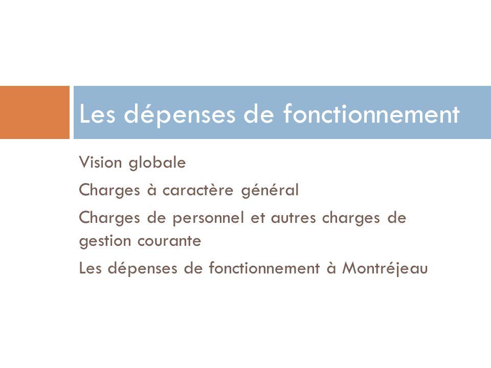 Vision globale Charges à caractère général Charges de personnel et autres charges de gestion courante Les dépenses de fonctionnement à Montréjeau Les