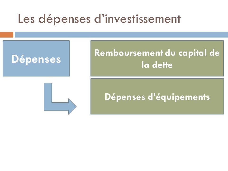 Dépenses Remboursement du capital de la dette Dépenses déquipements