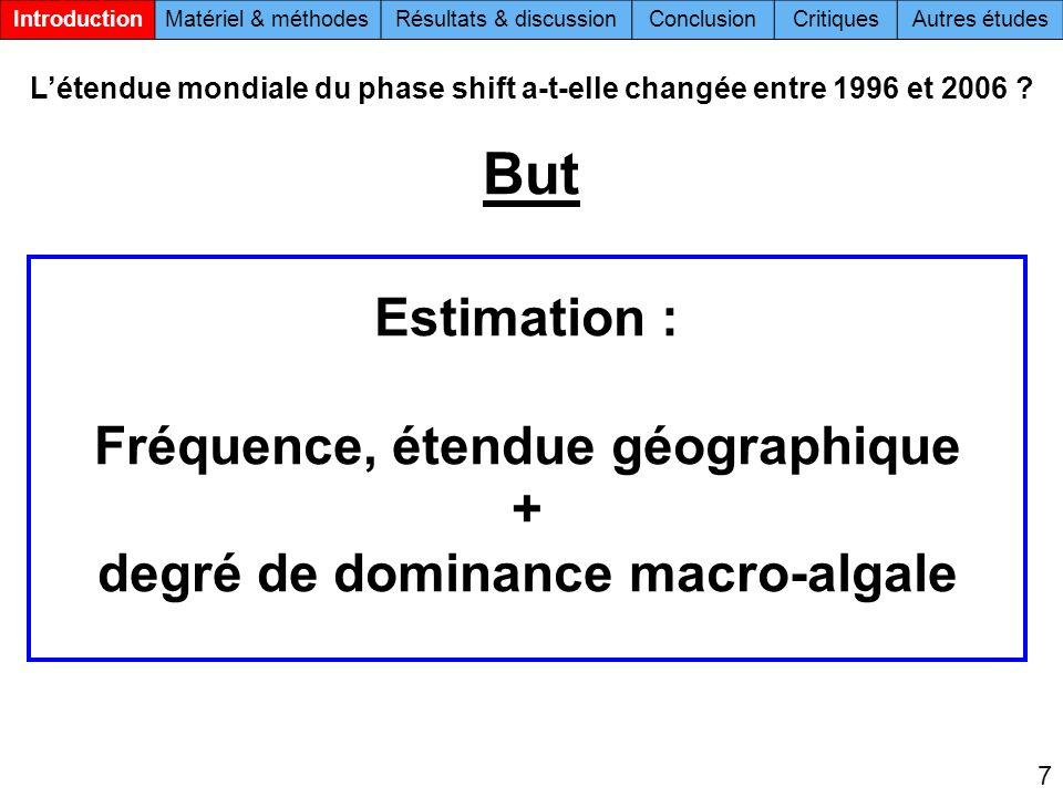 Estimation : Fréquence, étendue géographique + degré de dominance macro-algale Létendue mondiale du phase shift a-t-elle changée entre 1996 et 2006 ?