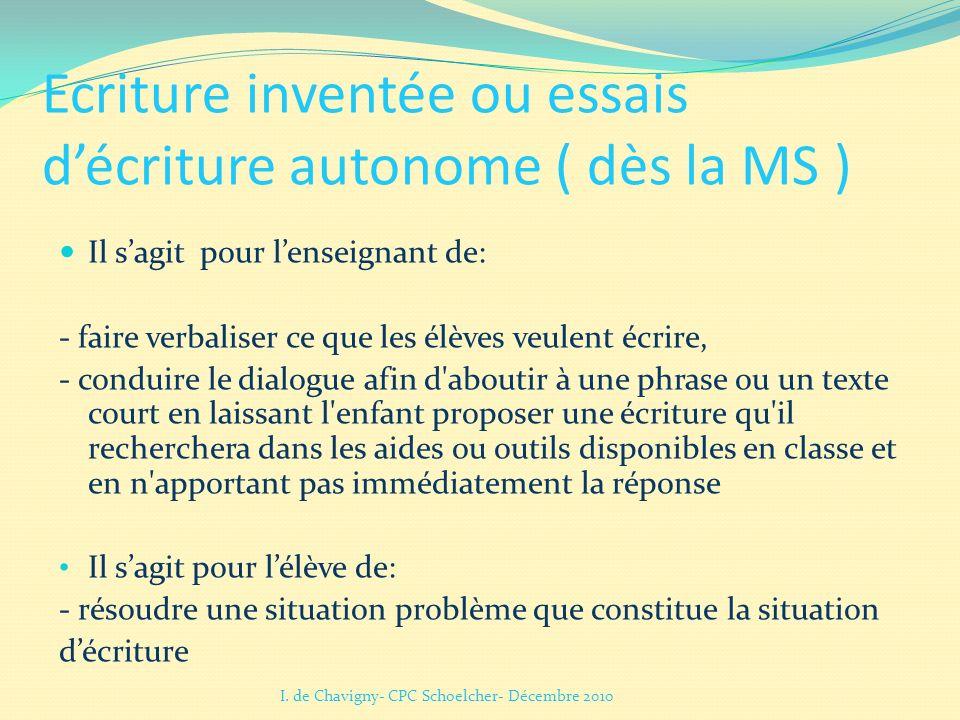 Ecriture inventée ou essais décriture autonome ( dès la MS ) Il sagit pour lenseignant de: - faire verbaliser ce que les élèves veulent écrire, - cond