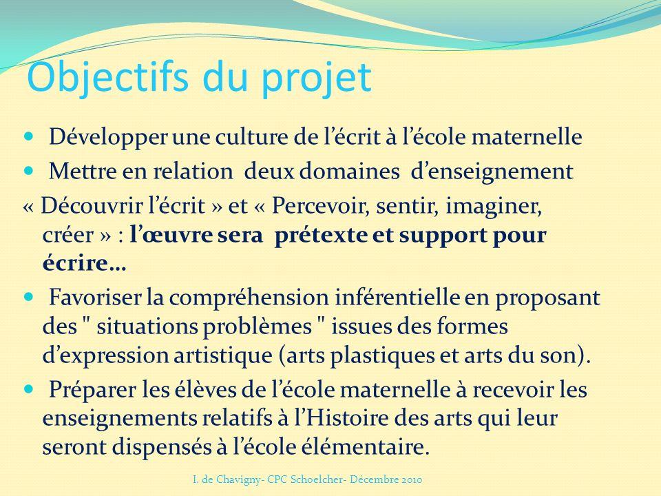Objectifs du projet Développer une culture de lécrit à lécole maternelle Mettre en relation deux domaines denseignement « Découvrir lécrit » et « Perc