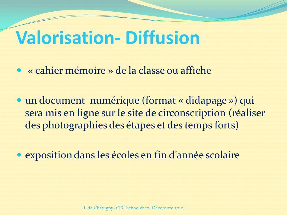 Valorisation- Diffusion « cahier mémoire » de la classe ou affiche un document numérique (format « didapage ») qui sera mis en ligne sur le site de ci
