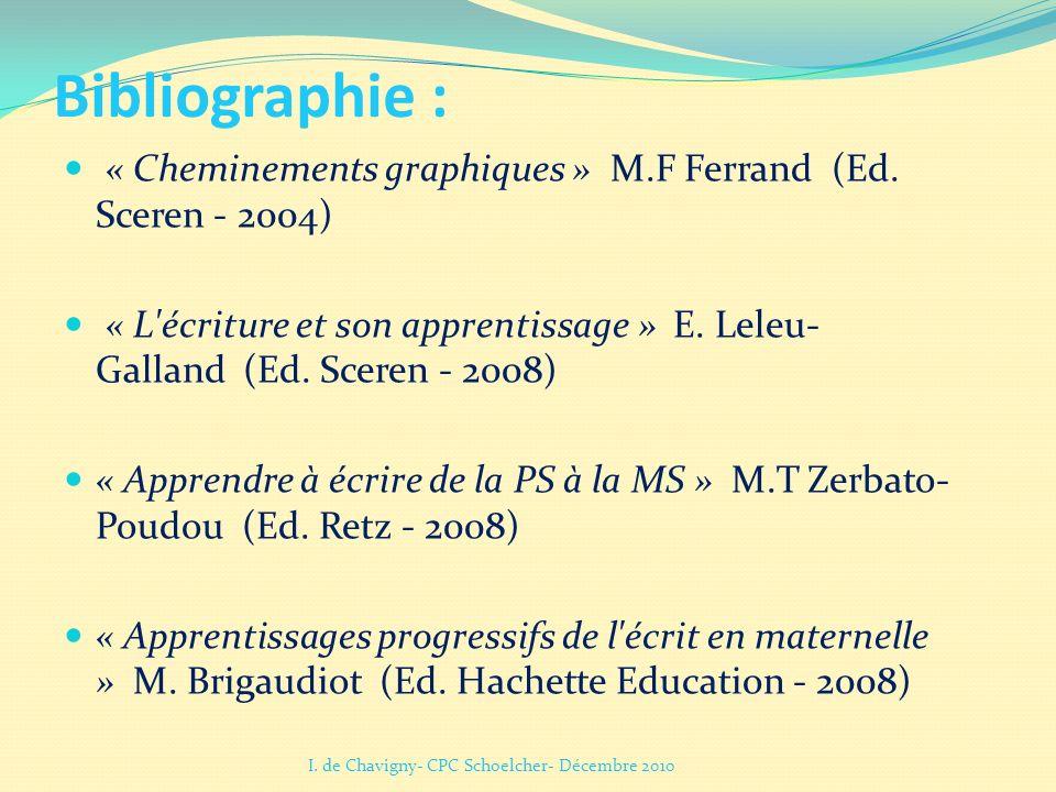 Bibliographie : « Cheminements graphiques » M.F Ferrand (Ed. Sceren - 2004) « L'écriture et son apprentissage » E. Leleu- Galland (Ed. Sceren - 2008)