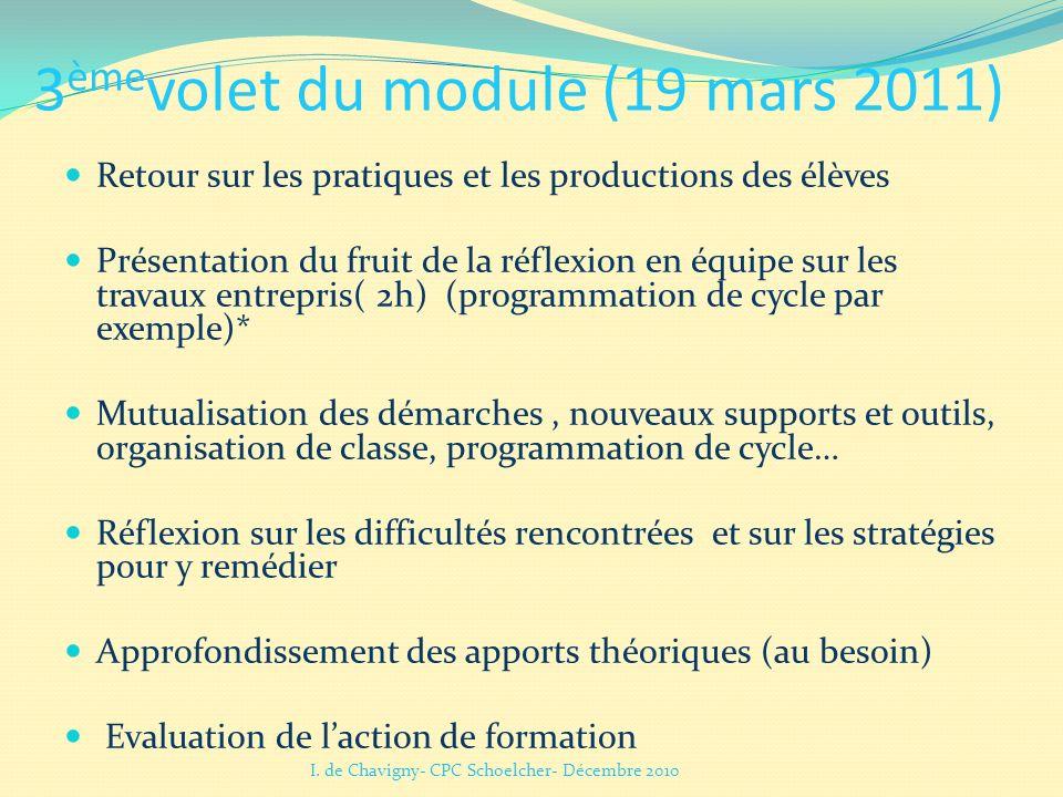 3 ème volet du module (19 mars 2011) Retour sur les pratiques et les productions des élèves Présentation du fruit de la réflexion en équipe sur les tr