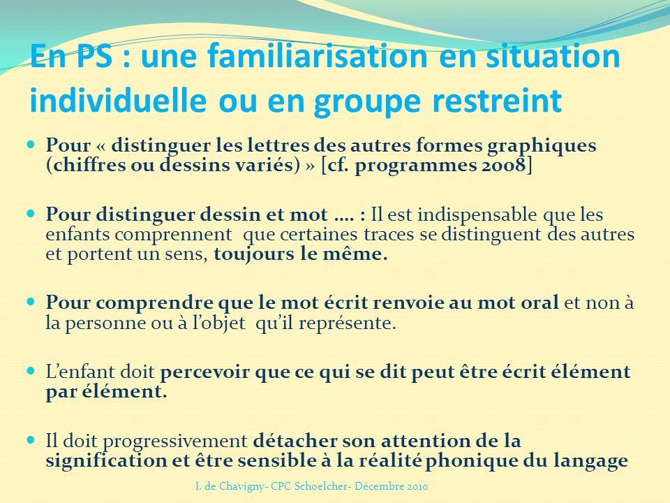 En PS : une familiarisation en situation individuelle ou en groupe restreint Pour « distinguer les lettres des autres formes graphiques (chiffres ou d