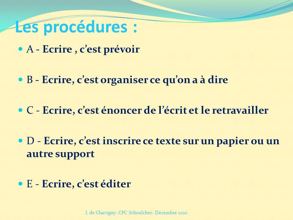 Les procédures : A - Ecrire, cest prévoir B - Ecrire, cest organiser ce quon a à dire C - Ecrire, cest énoncer de lécrit et le retravailler D - Ecrire
