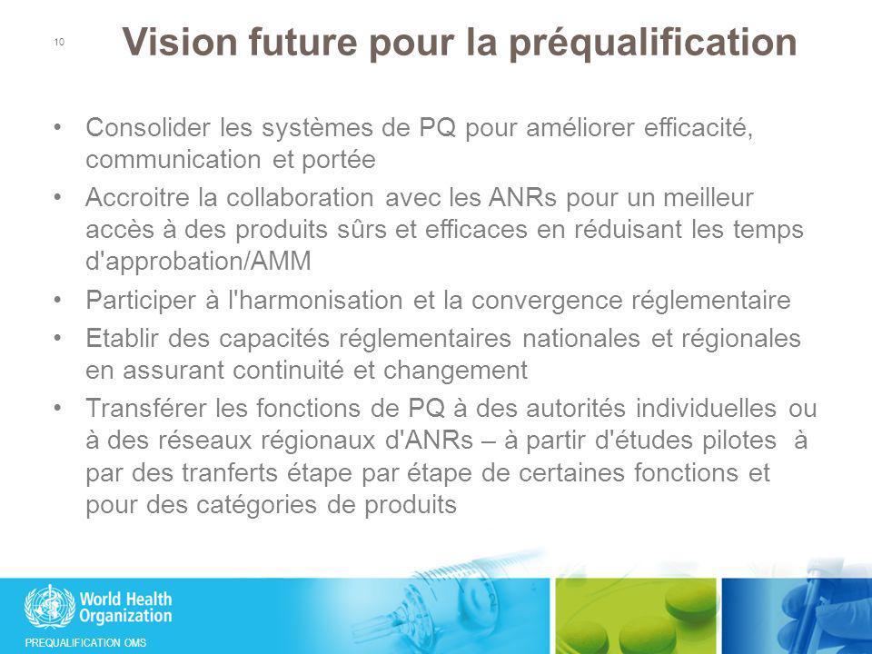 PREQUALIFICATION OMS Vision future pour la préqualification Consolider les systèmes de PQ pour améliorer efficacité, communication et portée Accroitre