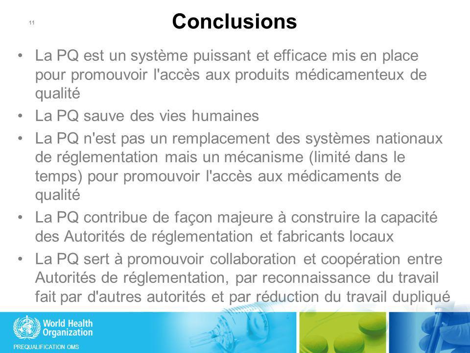 PREQUALIFICATION OMS 11 La PQ est un système puissant et efficace mis en place pour promouvoir l'accès aux produits médicamenteux de qualité La PQ sau