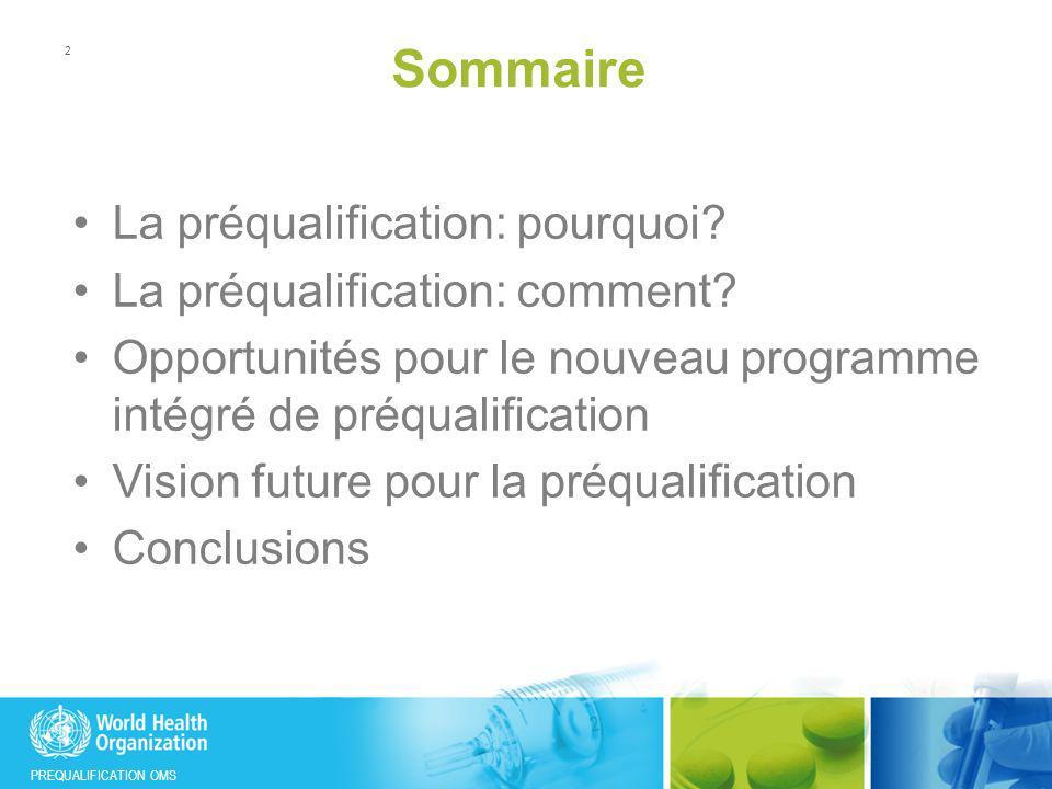 PREQUALIFICATION OMS Sommaire La préqualification: pourquoi? La préqualification: comment? Opportunités pour le nouveau programme intégré de préqualif