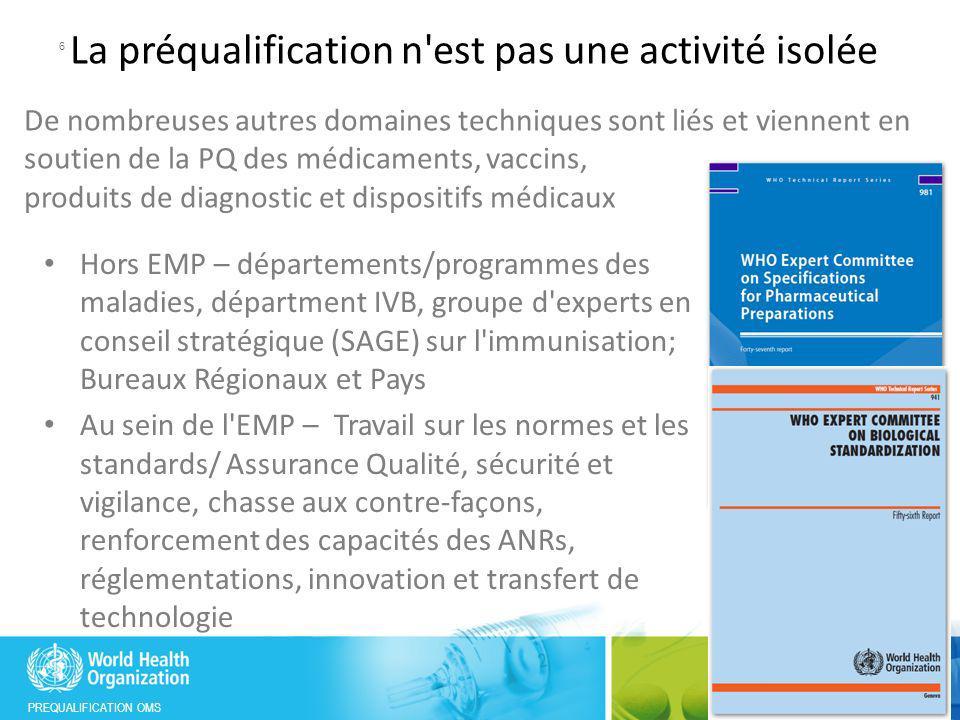 PREQUALIFICATION OMS Première publication du rapport des progrès du système intégré de PQ 7