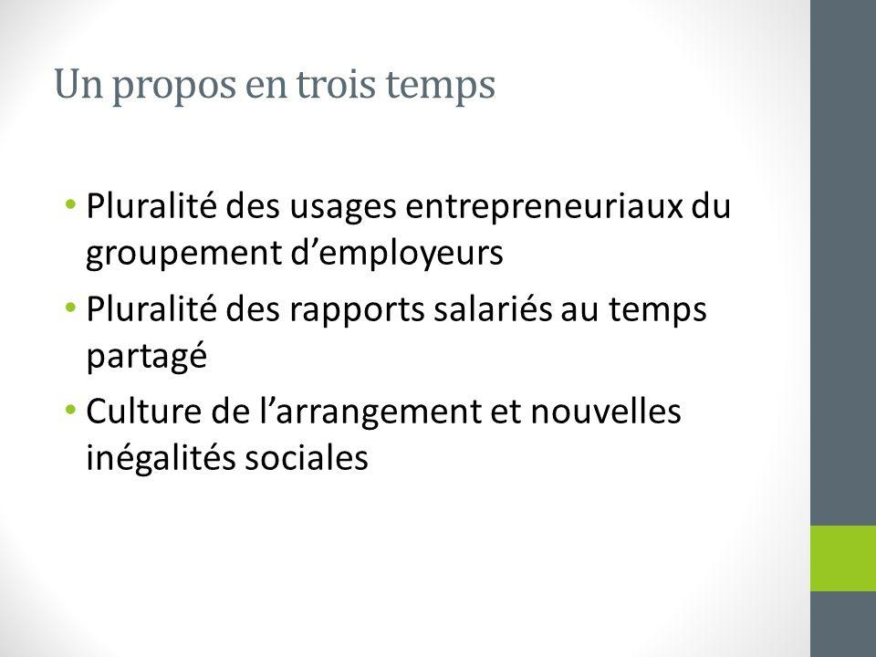 Un propos en trois temps Pluralité des usages entrepreneuriaux du groupement demployeurs Pluralité des rapports salariés au temps partagé Culture de l