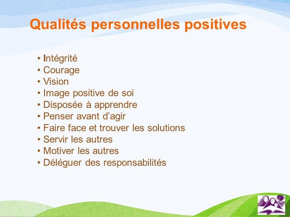 Intégrité Courage Vision Image positive de soi Disposée à apprendre Penser avant dagir Faire face et trouver les solutions Servir les autres Motiver l