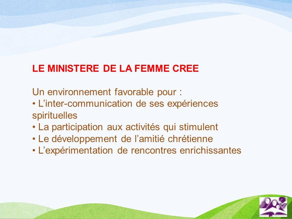 LE MINISTERE DE LA FEMME CREE Un environnement favorable pour : Linter-communication de ses expériences spirituelles La participation aux activités qu