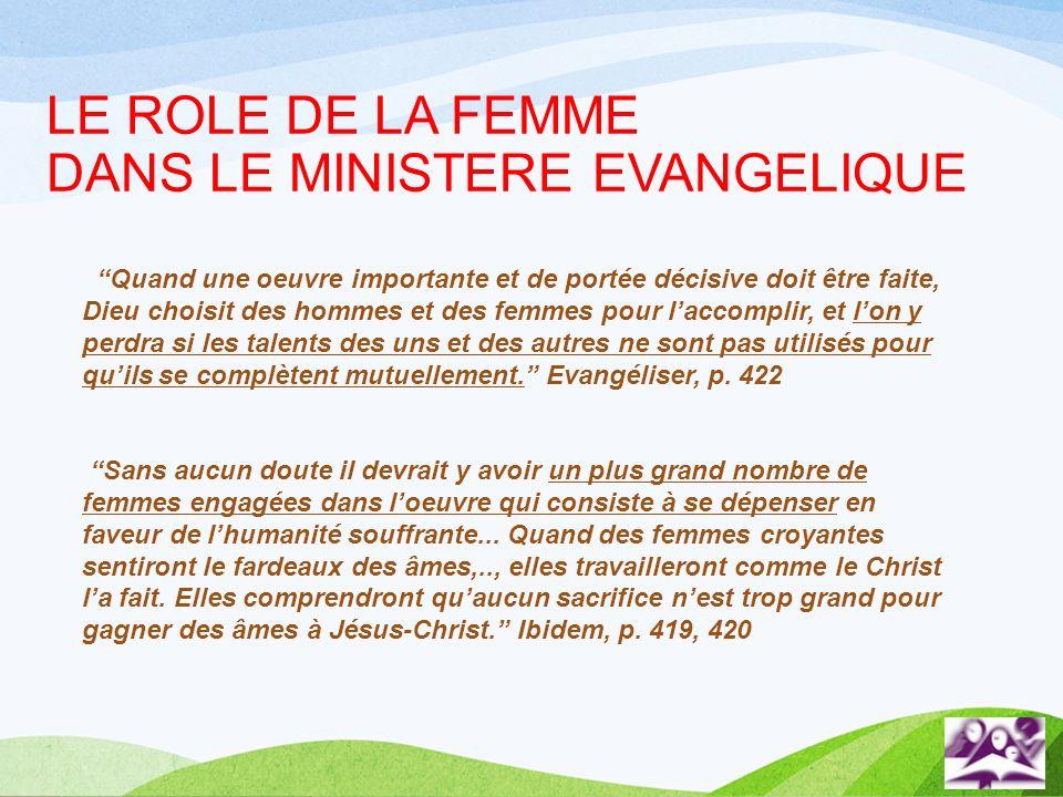 LE ROLE DE LA FEMME DANS LE MINISTERE EVANGELIQUE Quand une oeuvre importante et de portée décisive doit être faite, Dieu choisit des hommes et des fe