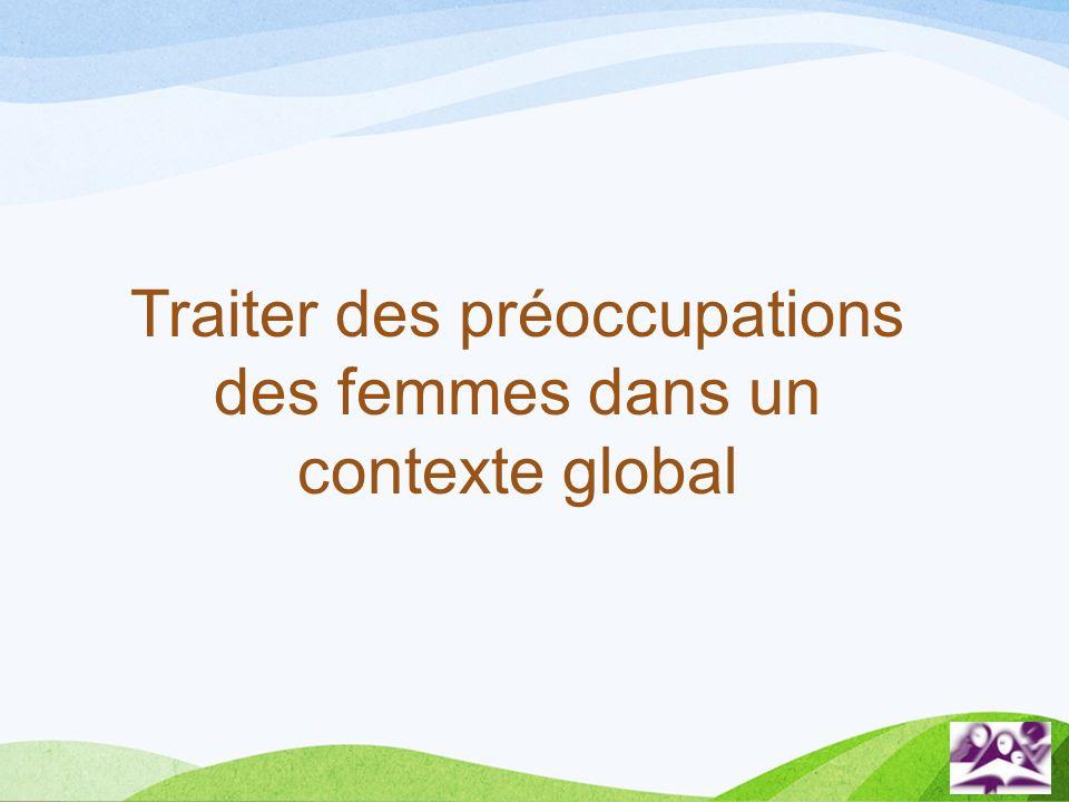 Traiter des préoccupations des femmes dans un contexte global