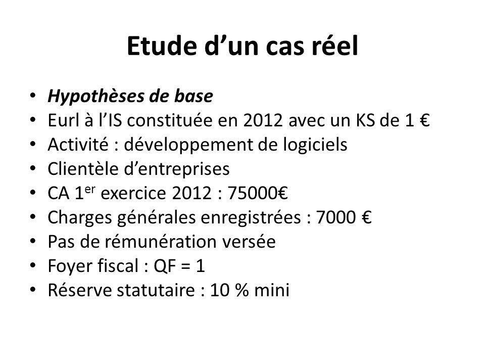 Etude dun cas réel Hypothèses de base Eurl à lIS constituée en 2012 avec un KS de 1 Activité : développement de logiciels Clientèle dentreprises CA 1