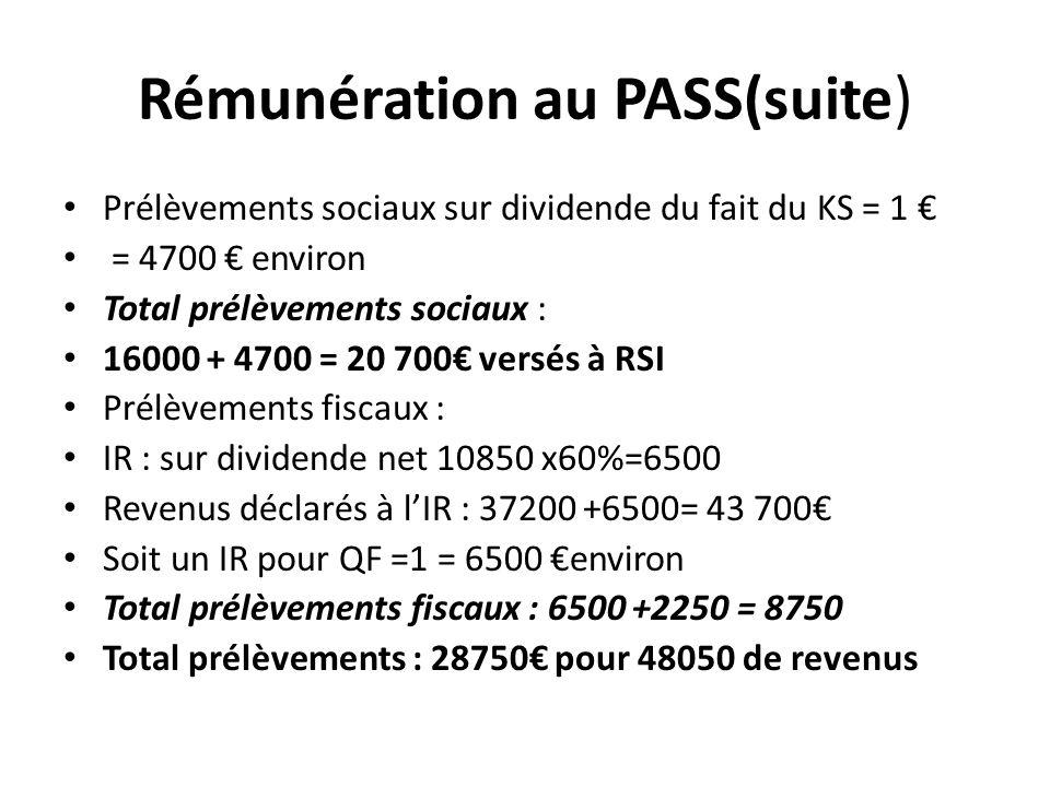 Rémunération au PASS(suite) Prélèvements sociaux sur dividende du fait du KS = 1 = 4700 environ Total prélèvements sociaux : 16000 + 4700 = 20 700 ver