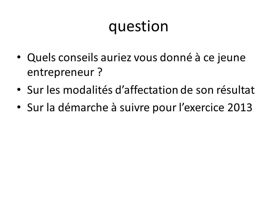 question Quels conseils auriez vous donné à ce jeune entrepreneur ? Sur les modalités daffectation de son résultat Sur la démarche à suivre pour lexer