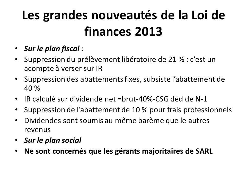 Les grandes nouveautés de la Loi de finances 2013 Sur le plan fiscal : Suppression du prélèvement libératoire de 21 % : cest un acompte à verser sur I