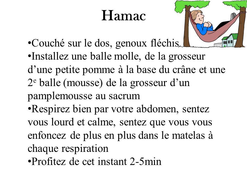Hamac Couché sur le dos, genoux fléchis Installez une balle molle, de la grosseur dune petite pomme à la base du crâne et une 2 e balle (mousse) de la