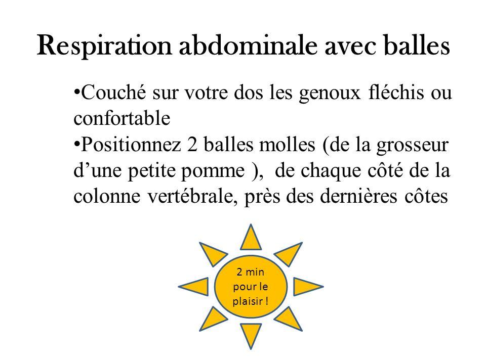 Respiration abdominale avec balles Couché sur votre dos les genoux fléchis ou confortable Positionnez 2 balles molles (de la grosseur dune petite pomm