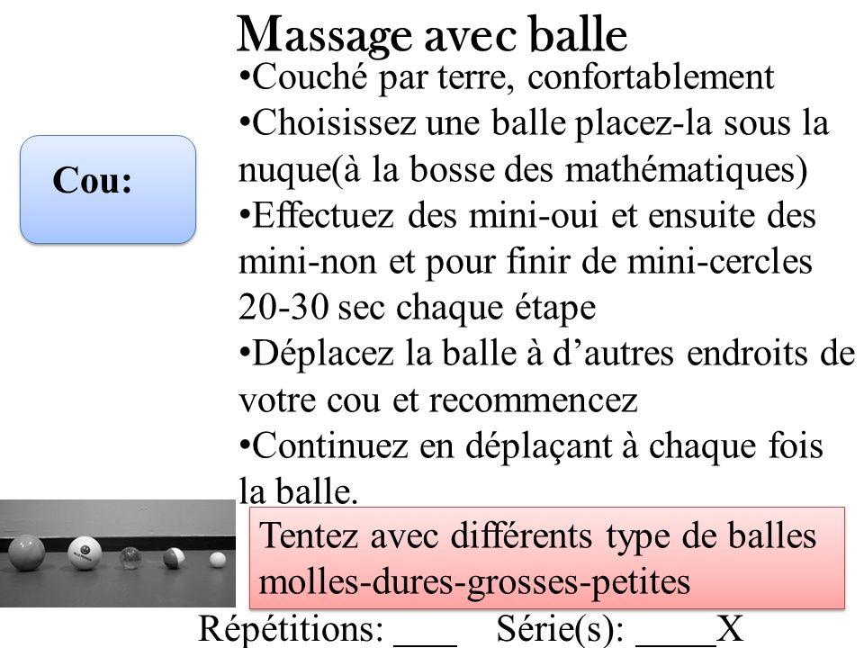 Massage avec balle Cou: Couché par terre, confortablement Choisissez une balle placez-la sous la nuque(à la bosse des mathématiques) Effectuez des min