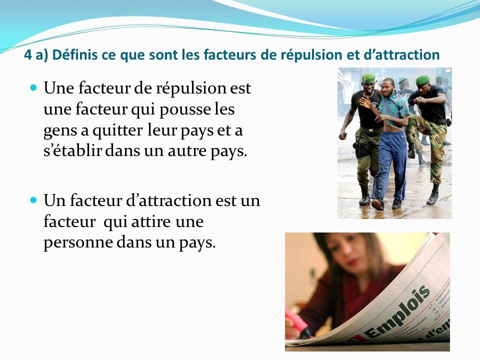 4 a) Définis ce que sont les facteurs de répulsion et dattraction Une facteur de répulsion est une facteur qui pousse les gens a quitter leur pays et a sétablir dans un autre pays.