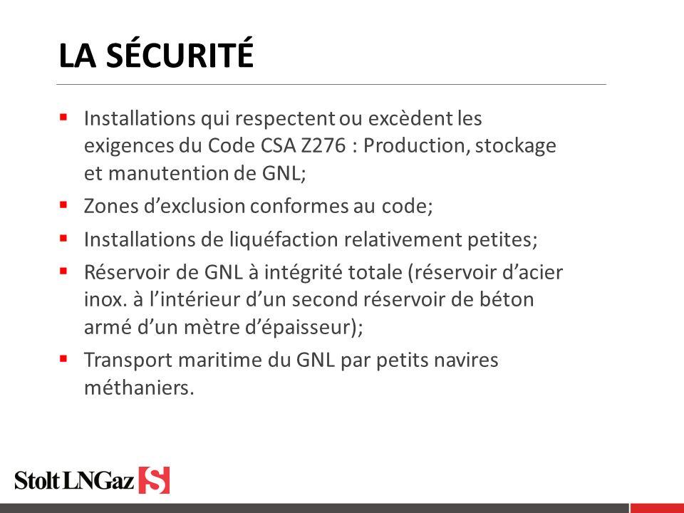 LA SÉCURITÉ Installations qui respectent ou excèdent les exigences du Code CSA Z276 : Production, stockage et manutention de GNL; Zones dexclusion conformes au code; Installations de liquéfaction relativement petites; Réservoir de GNL à intégrité totale (réservoir dacier inox.