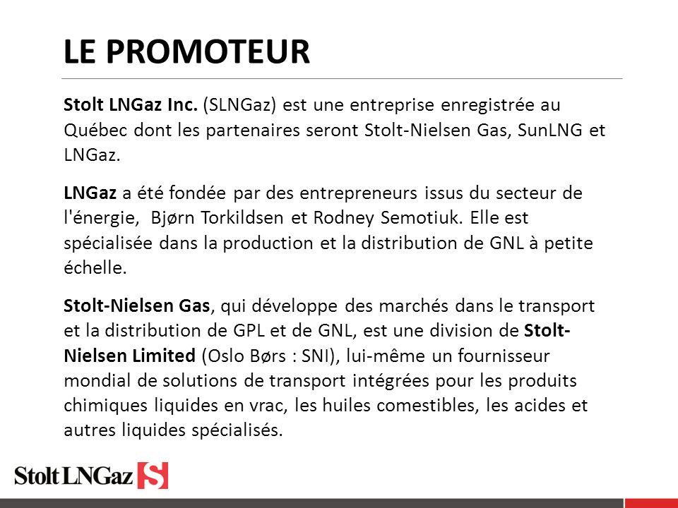 LE PROMOTEUR Stolt LNGaz Inc. (SLNGaz) est une entreprise enregistrée au Québec dont les partenaires seront Stolt-Nielsen Gas, SunLNG et LNGaz. LNGaz