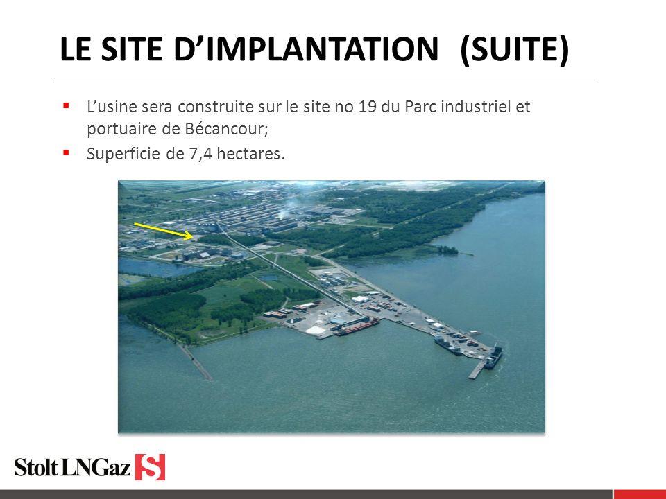 LE SITE DIMPLANTATION (SUITE) Lusine sera construite sur le site no 19 du Parc industriel et portuaire de Bécancour; Superficie de 7,4 hectares.
