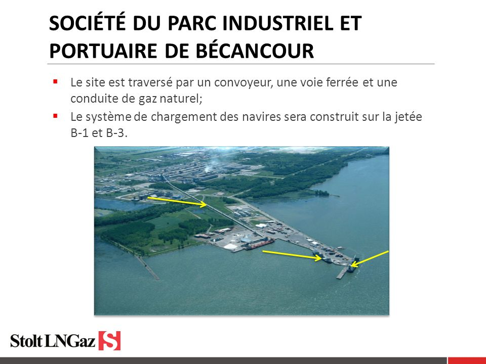 SOCIÉTÉ DU PARC INDUSTRIEL ET PORTUAIRE DE BÉCANCOUR Photo: Guy Beauchesne Le site est traversé par un convoyeur, une voie ferrée et une conduite de gaz naturel; Le système de chargement des navires sera construit sur la jetée B-1 et B-3.
