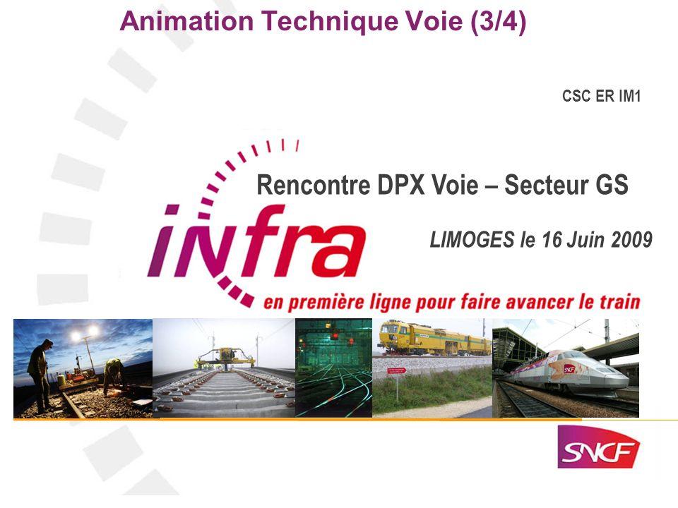 1 Animation Technique Voie (3/4) CSC ER IM1 Rencontre DPX Voie – Secteur GS LIMOGES le 16 Juin 2009