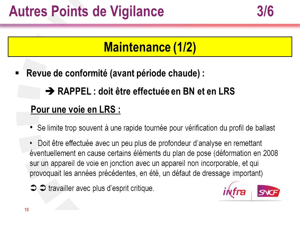 10 Maintenance (1/2) Revue de conformité (avant période chaude) : RAPPEL : doit être effectuée en BN et en LRS Pour une voie en LRS : Se limite trop s