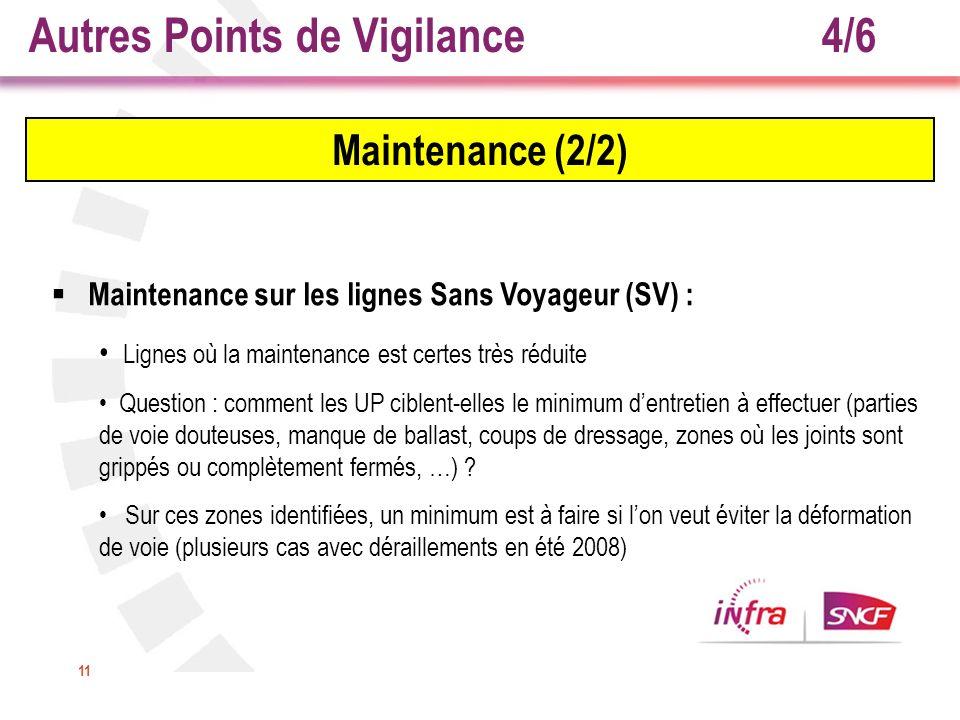 11 Maintenance (2/2) Maintenance sur les lignes Sans Voyageur (SV) : Lignes où la maintenance est certes très réduite Question : comment les UP ciblen