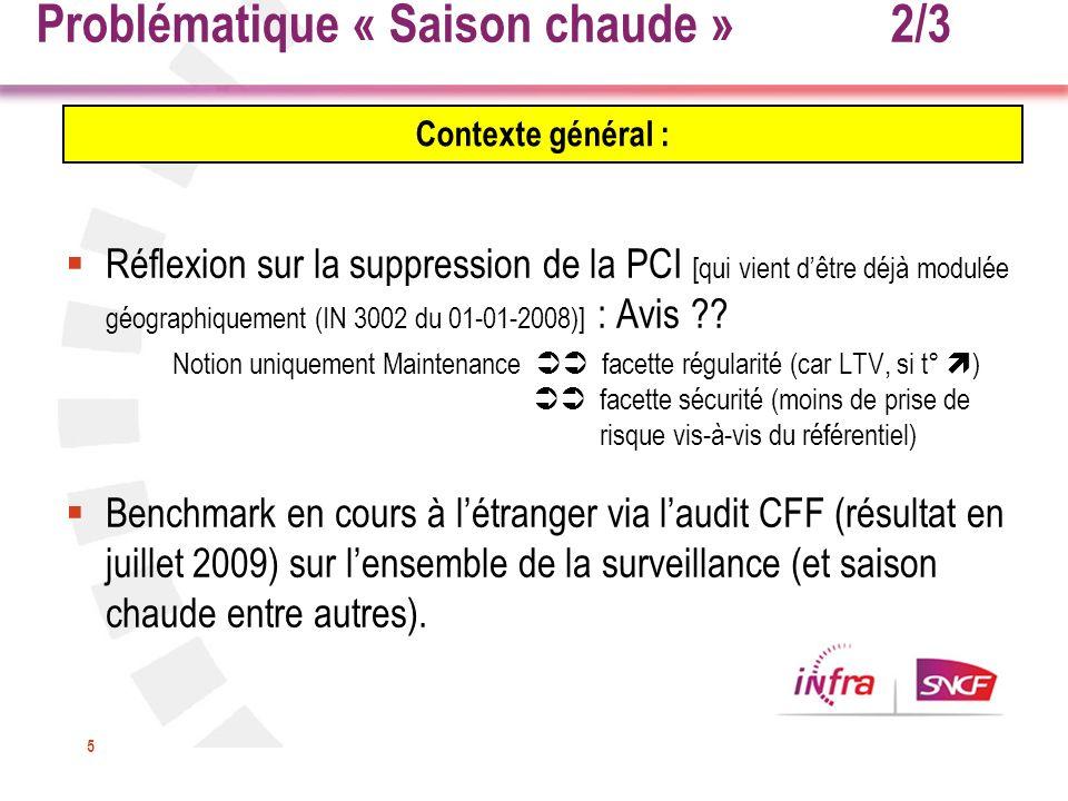5 Réflexion sur la suppression de la PCI [qui vient dêtre déjà modulée géographiquement (IN 3002 du 01-01-2008)] : Avis ?? Notion uniquement Maintenan