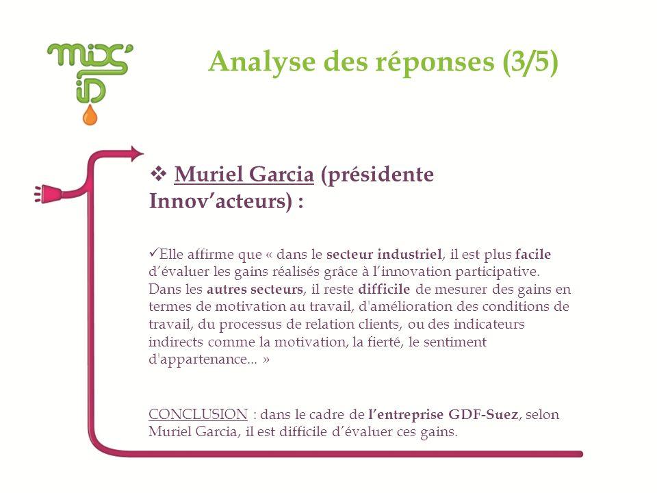 Analyse des réponses (3/5) Muriel Garcia (présidente Innovacteurs) : Elle affirme que « dans le secteur industriel, il est plus facile dévaluer les ga