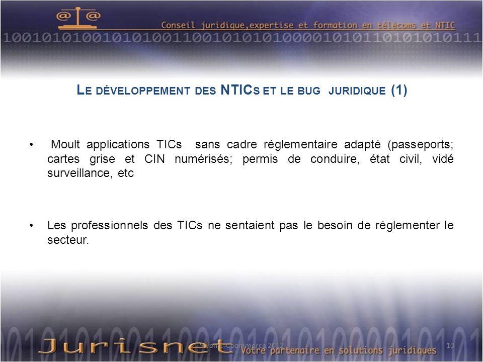 L E DÉVELOPPEMENT DES NTIC S ET LE BUG JURIDIQUE (1) Moult applications TICs sans cadre réglementaire adapté (passeports; cartes grise et CIN numérisé