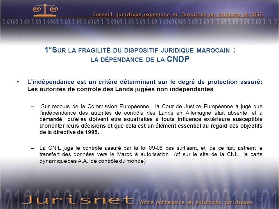 1°S UR LA FRAGILITÉ DU DISPOSITIF JURIDIQUE MAROCAIN : LA DÉPENDANCE DE LA CNDP Lindépendance est un critère déterminant sur le degré de protection as