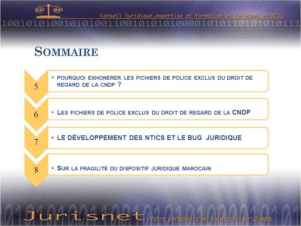 S OMMAIRE 5 POURQUOI EXHONERER LES FICHIERS DE POLICE EXCLUS DU DROIT DE REGARD DE LA CNDP .