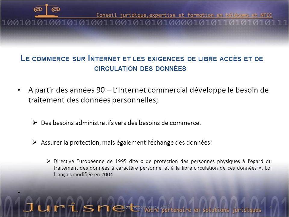 L E COMMERCE SUR I NTERNET ET LES EXIGENCES DE LIBRE ACCÈS ET DE CIRCULATION DES DONNÉES A partir des années 90 – LInternet commercial développe le be