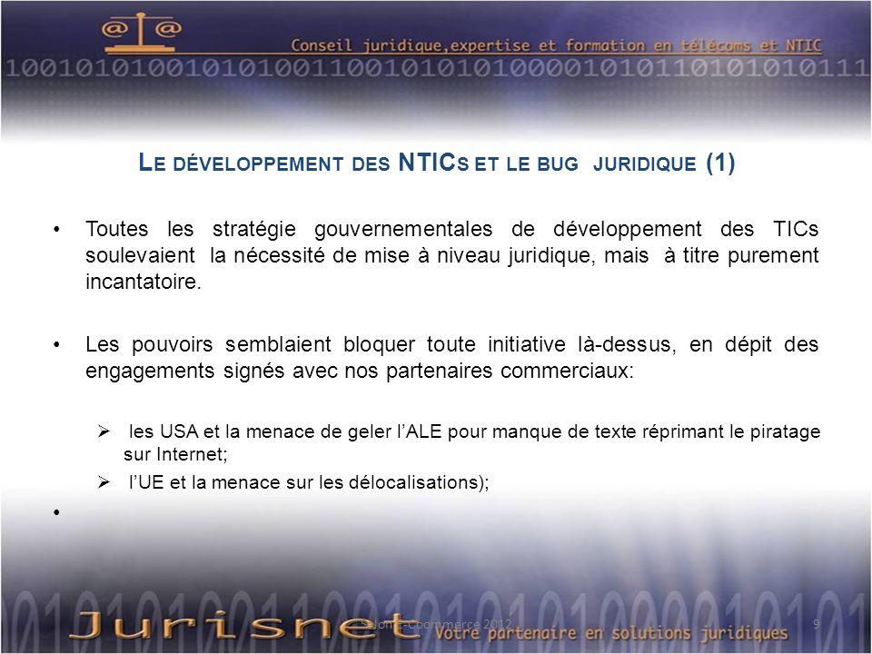 L E DÉVELOPPEMENT DES NTIC S ET LE BUG JURIDIQUE (1) Toutes les stratégie gouvernementales de développement des TICs soulevaient la nécessité de mise à niveau juridique, mais à titre purement incantatoire.
