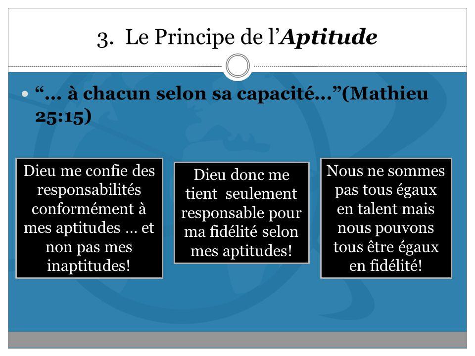 3. Le Principe de lAptitude... à chacun selon sa capacité...(Mathieu 25:15) Dieu me confie des responsabilités conformément à mes aptitudes … et non p