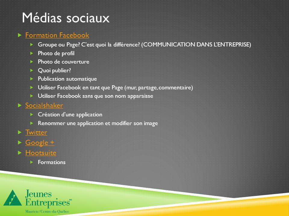 Médias sociaux Formation Facebook Groupe ou Page. Cest quoi la différence.