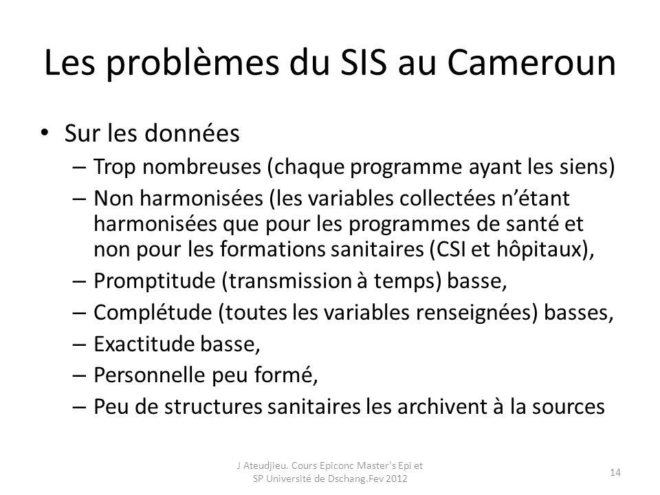 Les problèmes du SIS au Cameroun Sur les données – Trop nombreuses (chaque programme ayant les siens) – Non harmonisées (les variables collectées nétant harmonisées que pour les programmes de santé et non pour les formations sanitaires (CSI et hôpitaux), – Promptitude (transmission à temps) basse, – Complétude (toutes les variables renseignées) basses, – Exactitude basse, – Personnelle peu formé, – Peu de structures sanitaires les archivent à la sources J Ateudjieu.