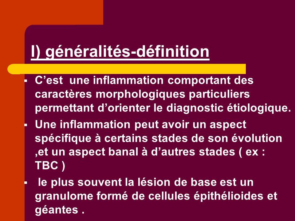 I) généralités-définition Cest une inflammation comportant des caractères morphologiques particuliers permettant dorienter le diagnostic étiologique.